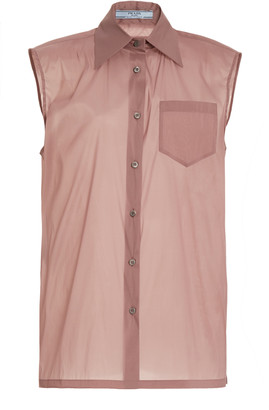 Prada Sleeveless Silk-Blend Shirt