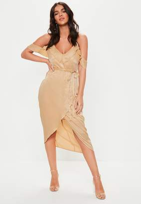 Missguided Tall Champagne Cold Shoulder Satin Midi Dress