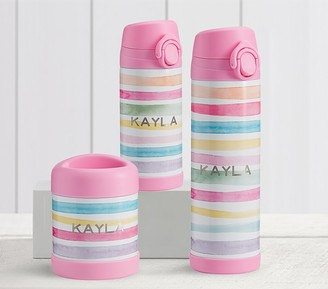 Pottery Barn Kids Mackenzie Pink Kayla Rainbow Stripes Hot & Cold Container