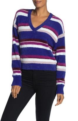 Splendid Striped Fuzzy V-Neck Dolman Sweater