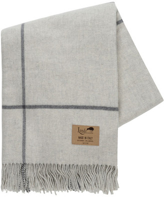 Lands Downunder Windowpane Cashmere Throw, Light Grey and Charcoal