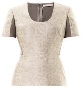 Richard Nicoll Snake-effect jacquard peplum top