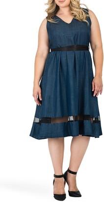 Standards & Practices Julia Illusion Mesh Trim Dress