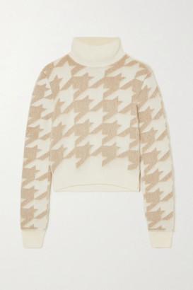 Nina Ricci Houndstooth Jacquard-knit Wool-blend Turtleneck Sweater - Off-white