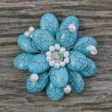Floral Turquoise Colored Brooch Pin, 'Blue Azalea'