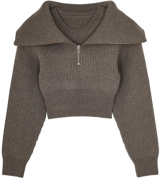 Jacquemus La Mille Risoul Taupe Cropped Merino Wool Jumper