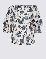 Per Una Floral Print Ruffle Sleeve Shell Top