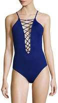 La Blanca Island Goddess One-Piece Lace-Up High Neck Swimsuit