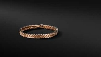 David Yurman Chevron Woven Bracelet In 18K Rose Gold