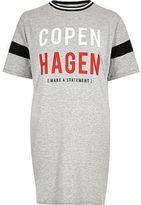 River Island Womens Grey 'Copenhagen' print boyfriend T-shirt