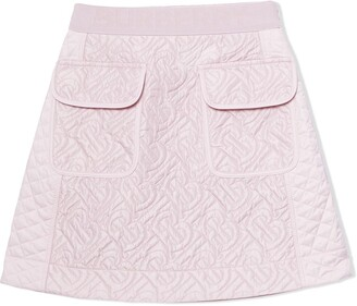 BURBERRY KIDS logo-quilted A-line skirt