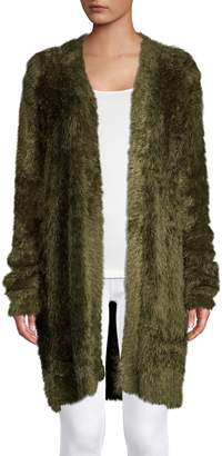 Lord & Taylor Faux Fur Open Front Cardigan
