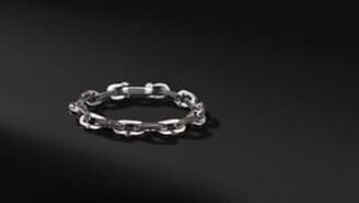 David Yurman Streamline Chain Link Bracelet With Black Diamonds