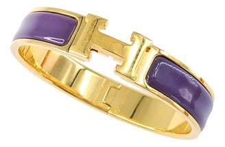 Hermã ̈S HermAs Clic H Purple Metal Bracelets