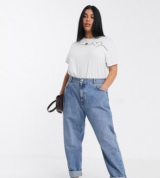 Asos DESIGN Curve high rise 'Slouchy' mom jeans in midwash
