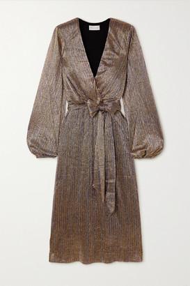 Rebecca Vallance Rivero Wrap-effect Belted Metallic Chiffon Midi Dress - Gold