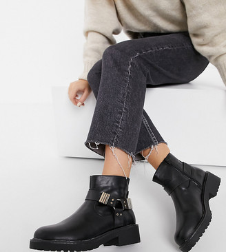 London Rebel wide fit hardware ankle boots in black