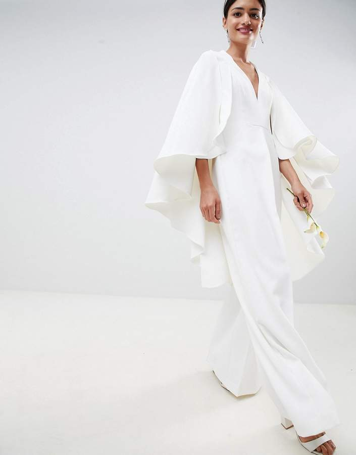 Asos Edition EDITION Cape Wedding Jumpsuit