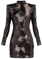 Balmain Exaggerated-shoulder Sequinned Mini Dress - Womens - Black