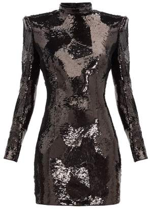 Balmain Exaggerated-shoulder Sequinned Mini Dress - Womens - Black