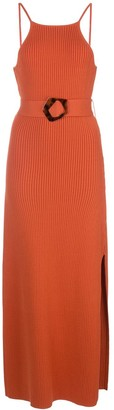 Nicholas Belted Ribbed Knit Maxi Dress