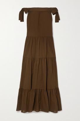 Marysia Swim Starfish Off-the-shoulder Tiered Textured-cotton Maxi Dress - Brown