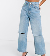 Asos DESIGN Petite High rise 'relaxed' dad jeans in vintage light wash with rips