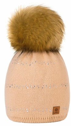 4sold Womens Ladies Winter Hat Knitted Beanie Large Pom Pom Cap Ski Snowboard Hats Bobble Small Crystals (Beige)
