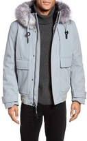 Andrew Marc Imperial Genuine For Fur Trim and Shearling Lined Bomber Jacket