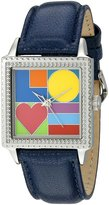 """Unknown The P.S. Collection by Arjang and Co. Women's PS-2008S-BL """"Mod Love"""" Stainless Steel Square Enamel Dial Leather Strap Watch"""