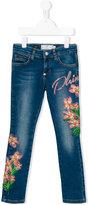 Philipp Plein Junior floral embellishment jeans