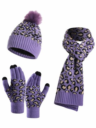 YOUNGSOUL 3 Pieces Winter Knitted Set Leopard Print Warm Bobble Hat Scarf and Gloves Women Girls Purple