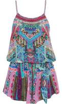 Camilla Guardian Of Secrets Layered Crystal-Embellished Floral-Print Silk Playsuit