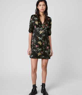 AllSaints Kota Silk Blend Evolution Dress