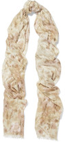 AERIN Printed Modal And Silk-blend Scarf - Beige
