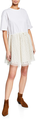See by Chloe Crewneck Tie-Waist Lace Tee Dress