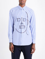 Comme des Garcons Face-print striped regular-fit cotton shirt