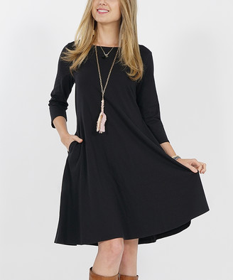 Lydiane Women's Casual Dresses BLACK - Black Crewneck Three-Quarter Sleeve Pocket Shift Dress - Women