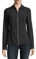 Lafayette 148 New York Turtleneck Zip-Front Stretch-Knit Jacket
