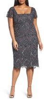 Pisarro Nights Plus Size Women's Lace Tiers Embellished Cocktail Sheath Dress