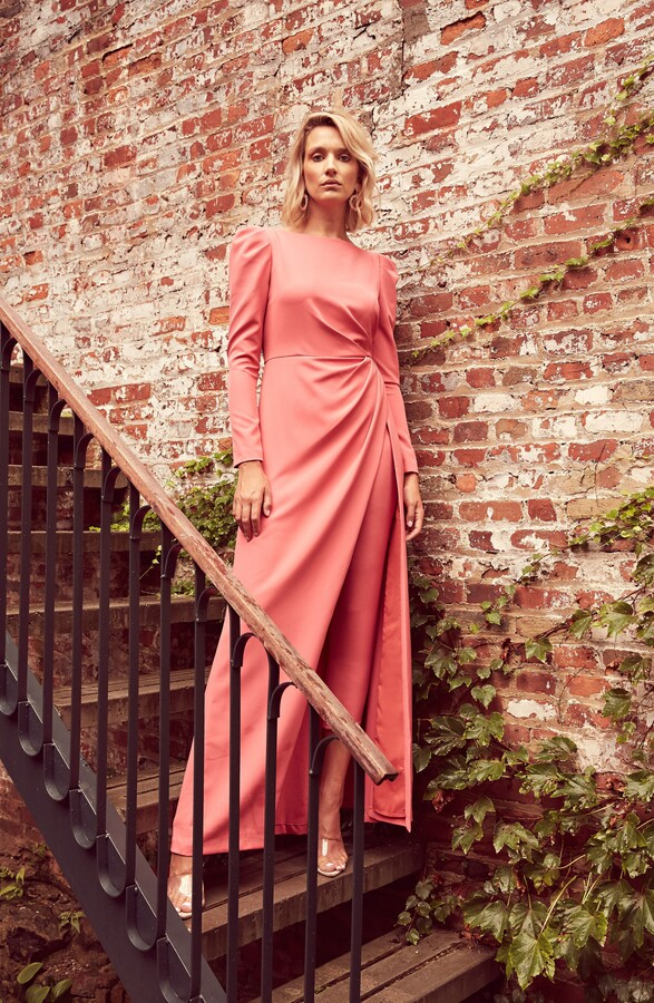 Thumbnail for your product : Kay Unger Long Sleeve Stretch Crepe Maxi Romper