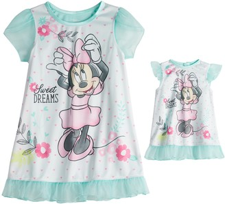 Licensed Character Disney's Minnie Mouse Toddler Girl Night Gown & Matching Doll Night Gown Set