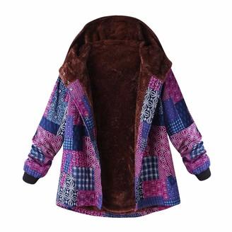 KaloryWee Sale Clearance Sweater Hoodies Coats Winter Women Hooded Parka Coat Long Sleeve Vintage Ladies Fleece Plus Size Zipper Fluffy Cotton Linen Outwear Overcoat Jacket Outercoat Tops Pink