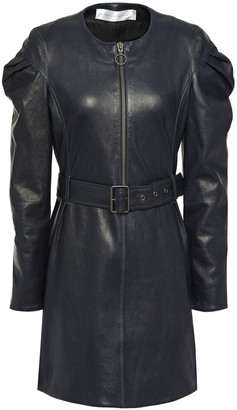 Victoria Victoria Beckham Belted Gathered Leather Mini Dress