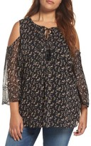 Daniel Rainn Plus Size Women's Print Cold Shoulder Keyhole Blouse