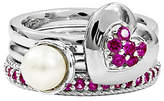 Simply Stacks Sterling Simulated Ruby Ring Set