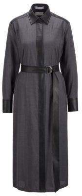 HUGO BOSS Traceable Wool Shirt Dress With Faux Leather Accents - Grey