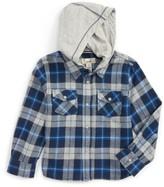 Boy's Peek Liam Hooded Flannel Shirt