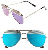 BP Women's 55Mm Slat Detail Aviator Sunglasses - Gold/ Purple