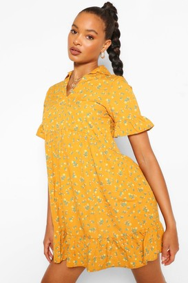 boohoo Floral Collar Detail Smock Dress
